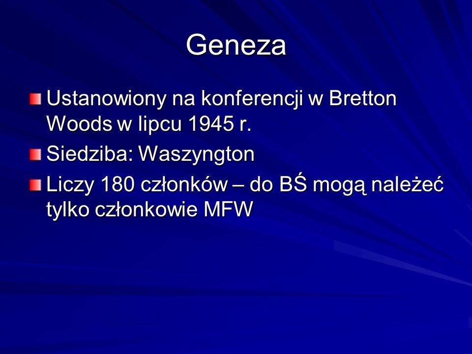 Geneza Ustanowiony na konferencji w Bretton Woods w lipcu 1945 r.