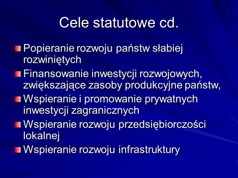 Cele statutowe cd. Popieranie rozwoju państw słabiej rozwiniętych