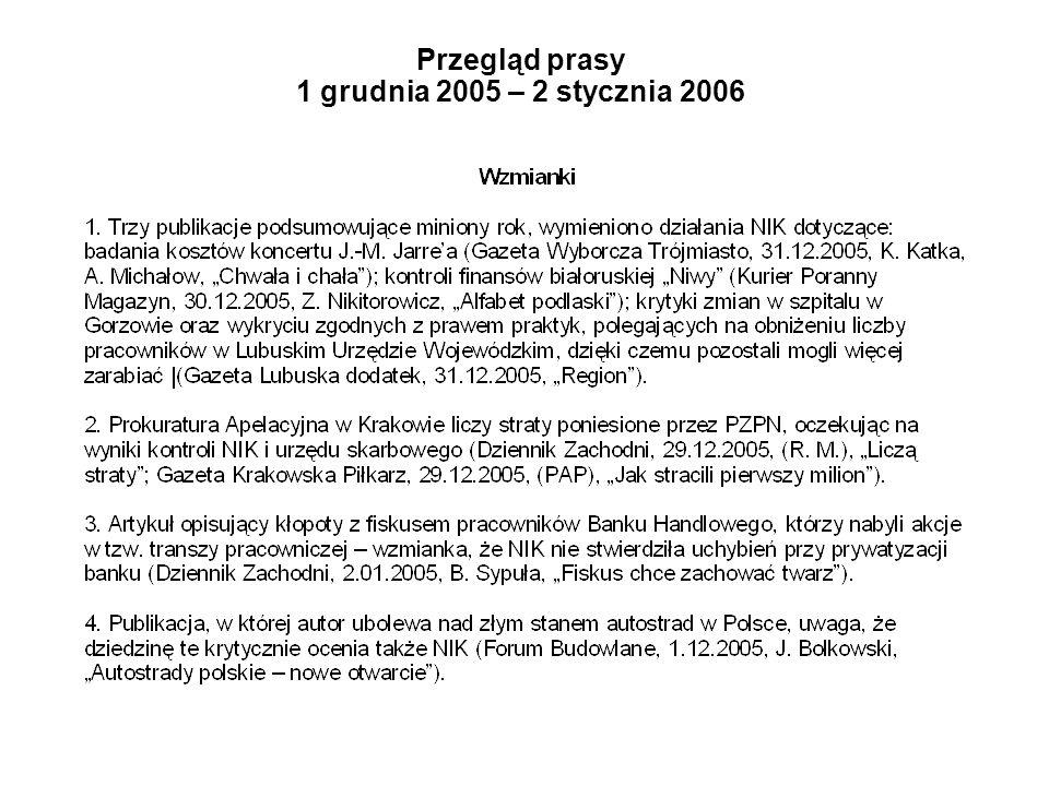 Przegląd prasy 1 grudnia 2005 – 2 stycznia 2006