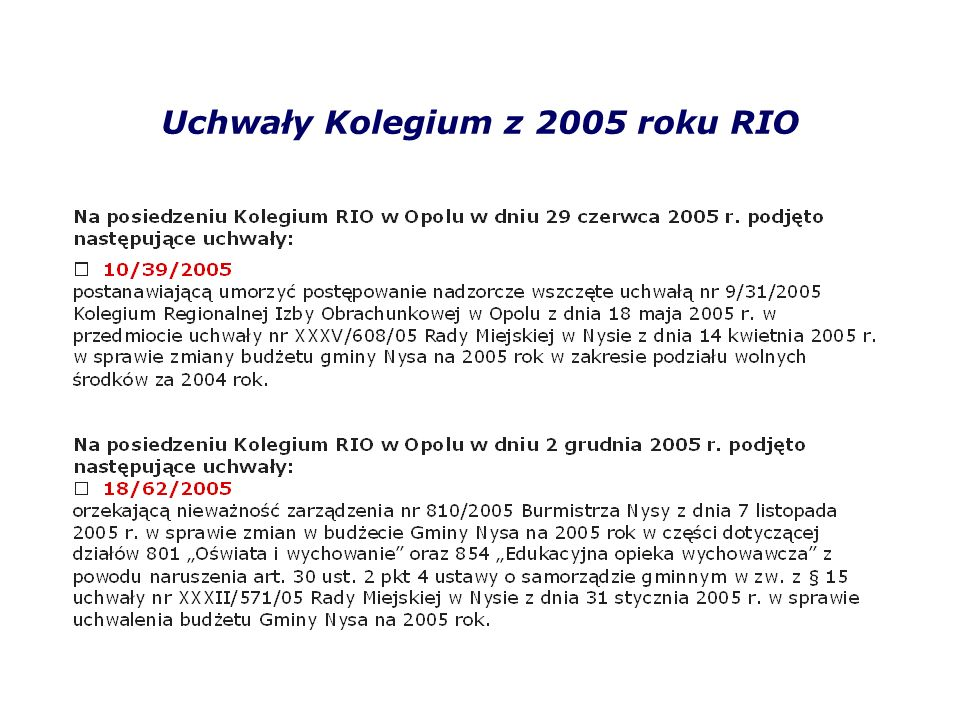 Uchwały Kolegium z 2005 roku RIO