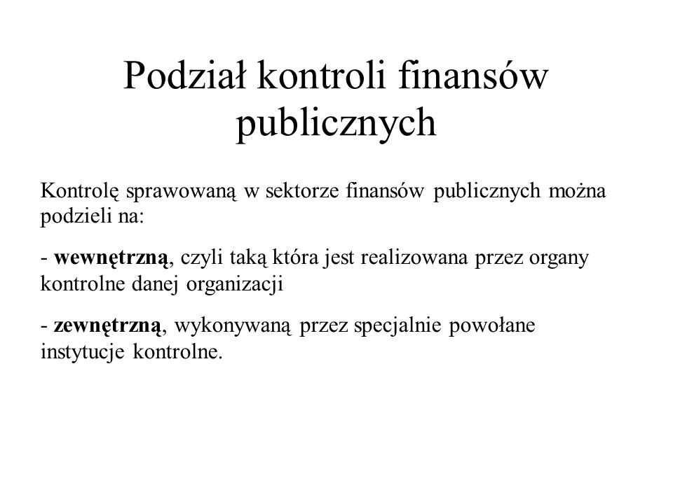 Podział kontroli finansów publicznych