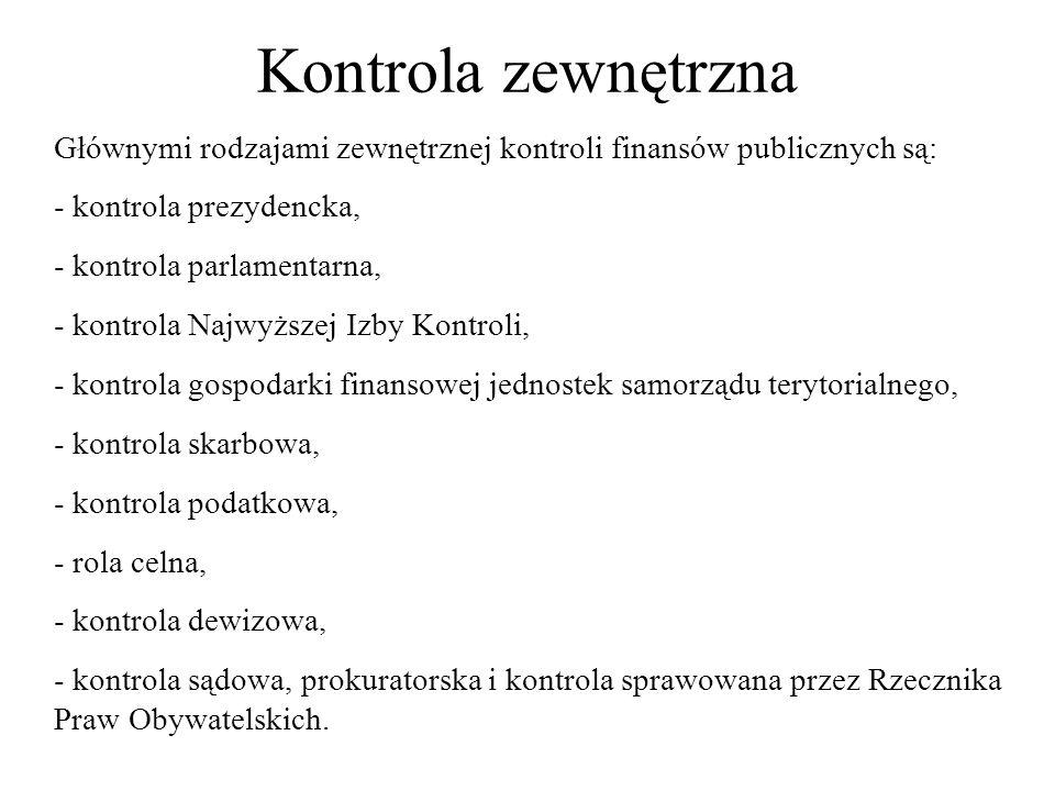 Kontrola zewnętrzna Głównymi rodzajami zewnętrznej kontroli finansów publicznych są: kontrola prezydencka,