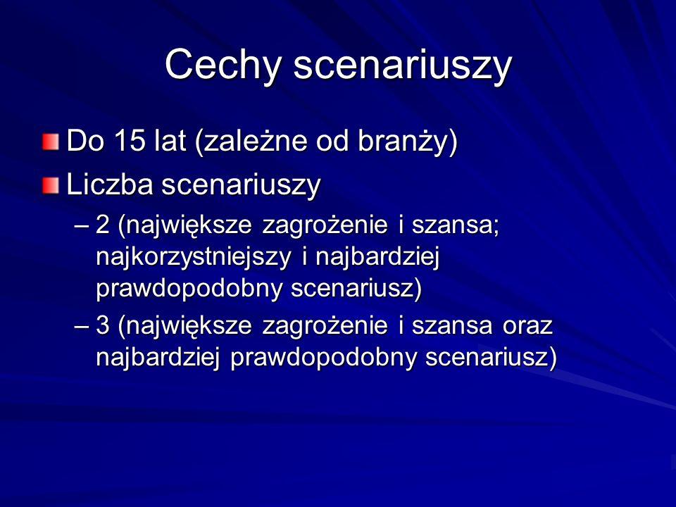 Cechy scenariuszy Do 15 lat (zależne od branży) Liczba scenariuszy