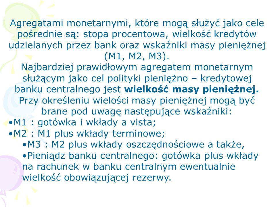Agregatami monetarnymi, które mogą służyć jako cele pośrednie są: stopa procentowa, wielkość kredytów udzielanych przez bank oraz wskaźniki masy pieniężnej (M1, M2, M3).