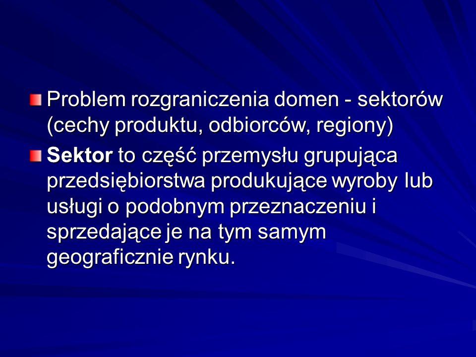 Problem rozgraniczenia domen - sektorów (cechy produktu, odbiorców, regiony)