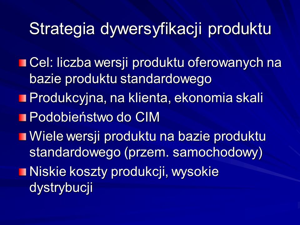 Strategia dywersyfikacji produktu