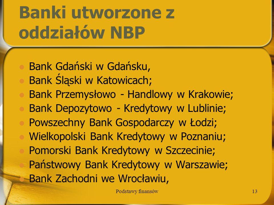 Banki utworzone z oddziałów NBP