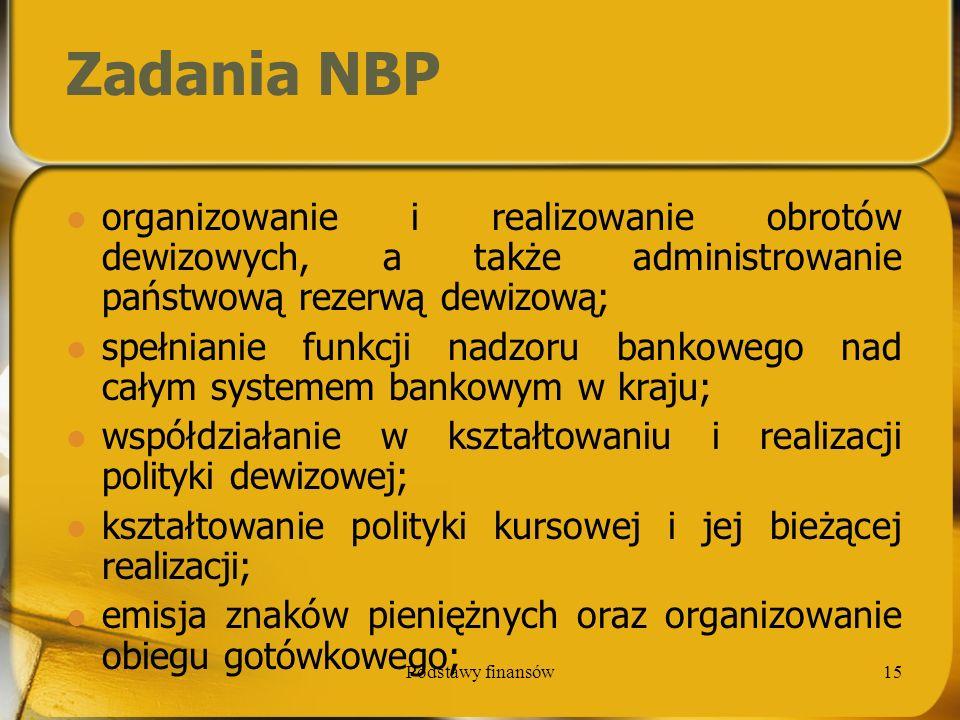 Zadania NBP organizowanie i realizowanie obrotów dewizowych, a także administrowanie państwową rezerwą dewizową;