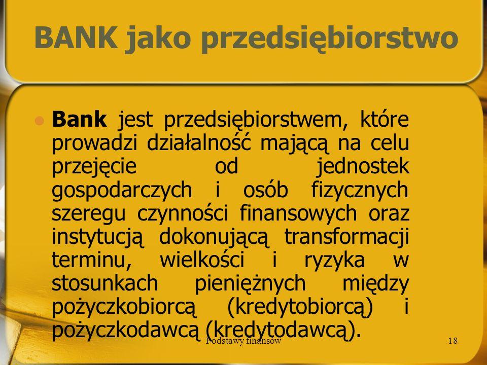 BANK jako przedsiębiorstwo