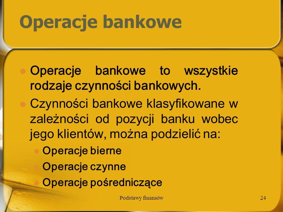 Operacje bankowe Operacje bankowe to wszystkie rodzaje czynności bankowych.