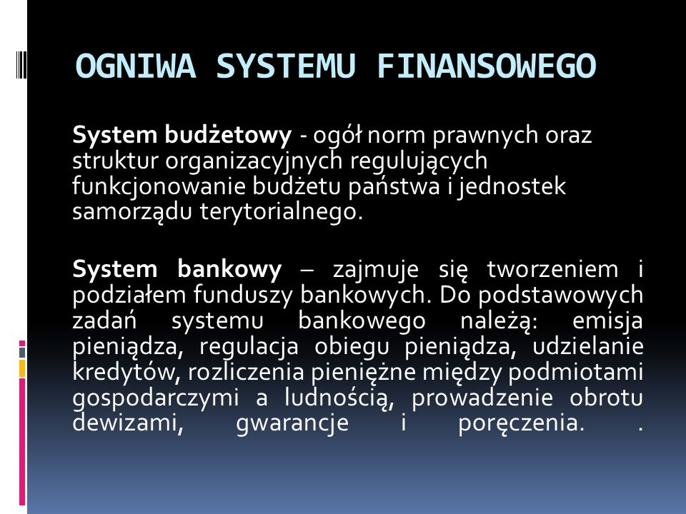 OGNIWA SYSTEMU FINANSOWEGO