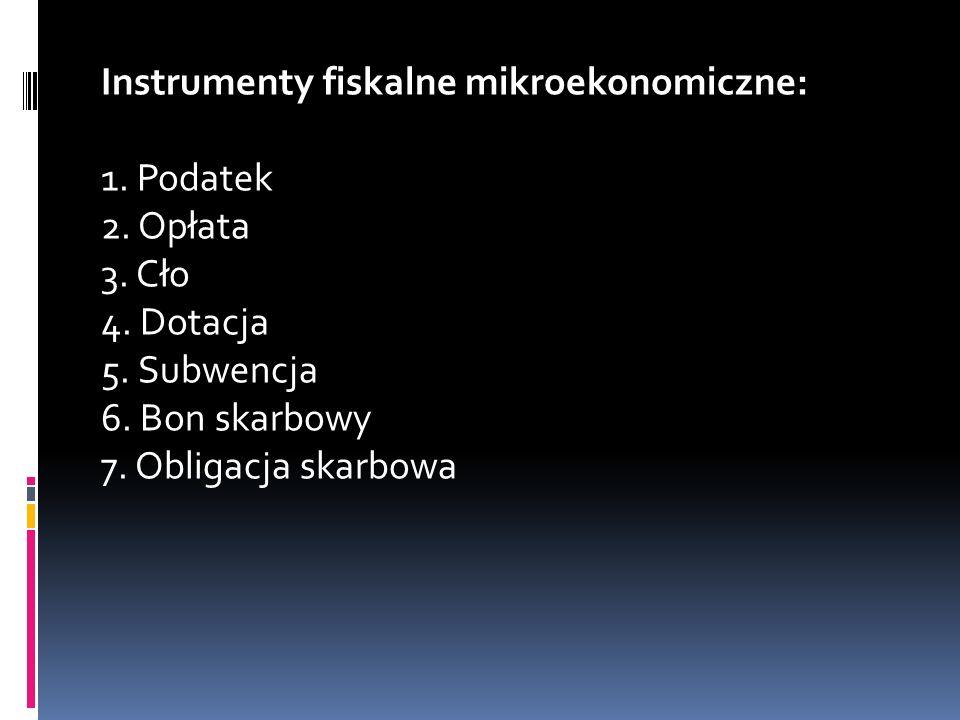 Instrumenty fiskalne mikroekonomiczne: 1. Podatek 2. Opłata 3. Cło 4
