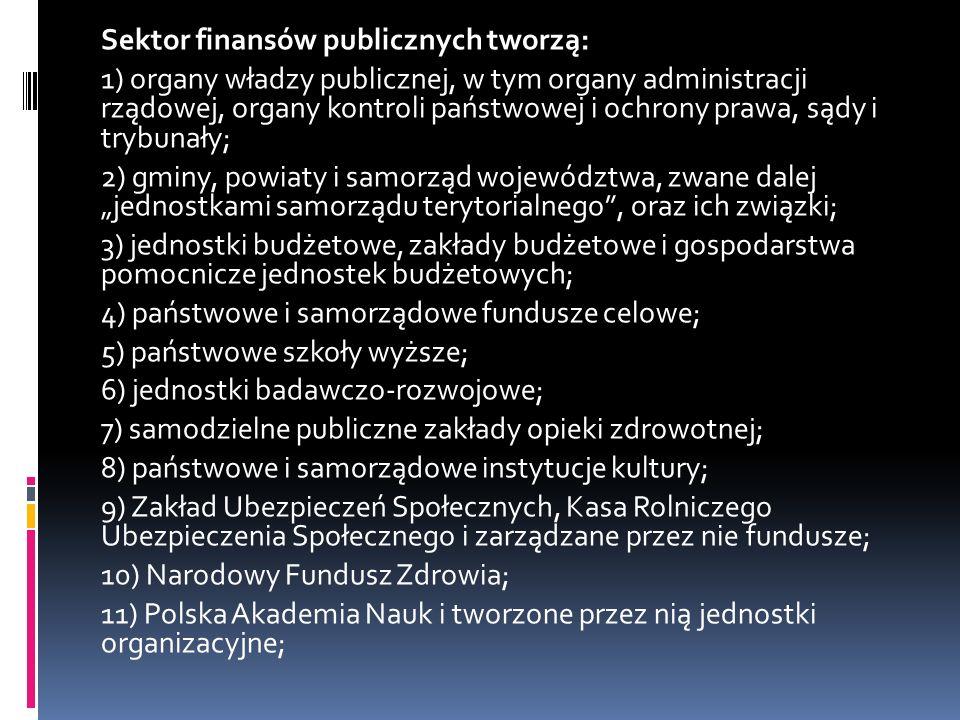 """Sektor finansów publicznych tworzą: 1) organy władzy publicznej, w tym organy administracji rządowej, organy kontroli państwowej i ochrony prawa, sądy i trybunały; 2) gminy, powiaty i samorząd województwa, zwane dalej """"jednostkami samorządu terytorialnego , oraz ich związki; 3) jednostki budżetowe, zakłady budżetowe i gospodarstwa pomocnicze jednostek budżetowych; 4) państwowe i samorządowe fundusze celowe; 5) państwowe szkoły wyższe; 6) jednostki badawczo-rozwojowe; 7) samodzielne publiczne zakłady opieki zdrowotnej; 8) państwowe i samorządowe instytucje kultury; 9) Zakład Ubezpieczeń Społecznych, Kasa Rolniczego Ubezpieczenia Społecznego i zarządzane przez nie fundusze; 10) Narodowy Fundusz Zdrowia; 11) Polska Akademia Nauk i tworzone przez nią jednostki organizacyjne;"""