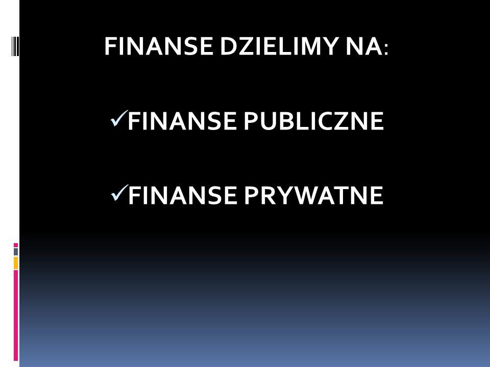 FINANSE DZIELIMY NA: FINANSE PUBLICZNE FINANSE PRYWATNE