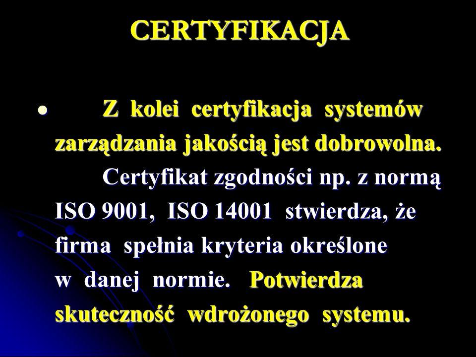 CERTYFIKACJA zarządzania jakością jest dobrowolna.