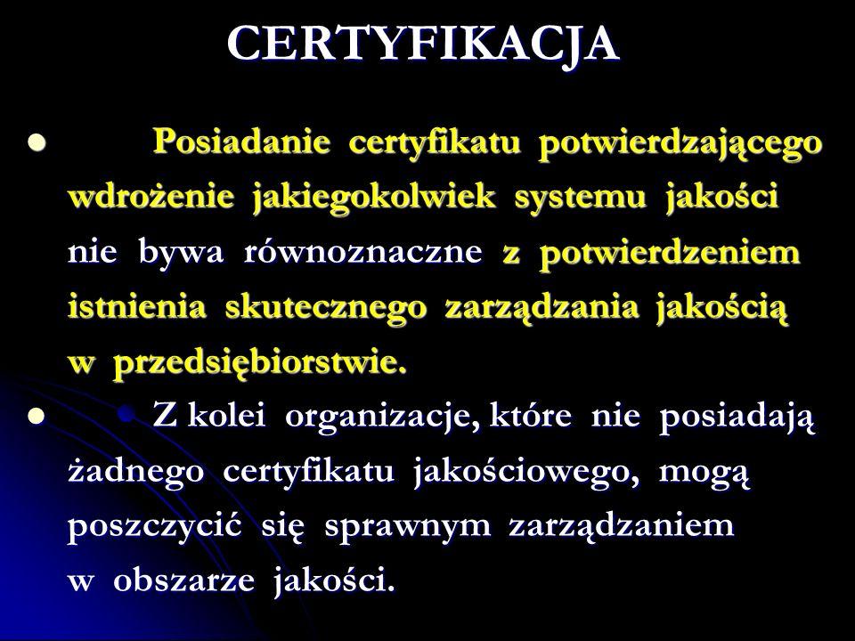 CERTYFIKACJA Posiadanie certyfikatu potwierdzającego