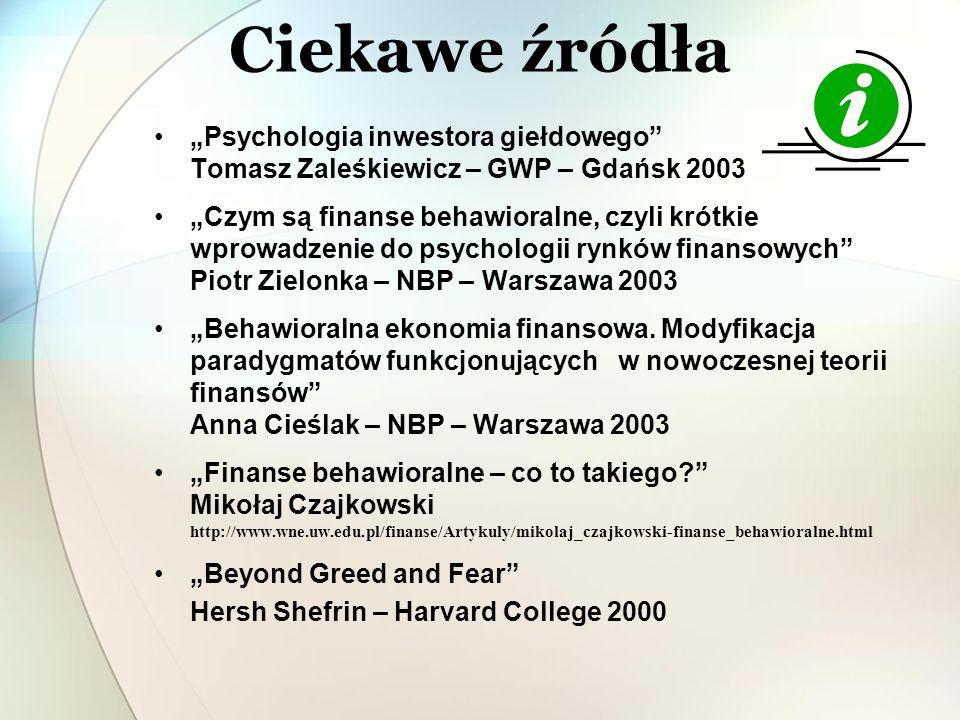 """Ciekawe źródła """"Psychologia inwestora giełdowego Tomasz Zaleśkiewicz – GWP – Gdańsk 2003."""