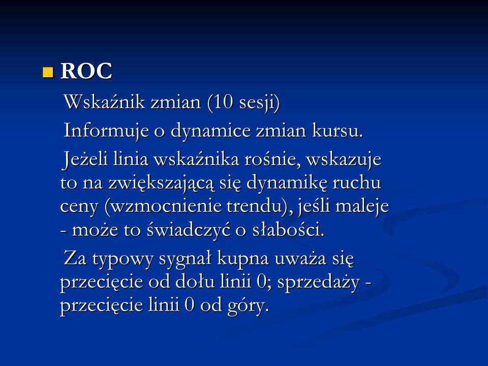 ROC Wskaźnik zmian (10 sesji) Informuje o dynamice zmian kursu.