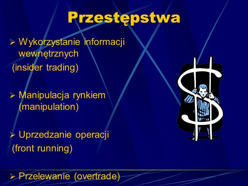 Przestępstwa Wykorzystanie informacji wewnętrznych (insider trading)
