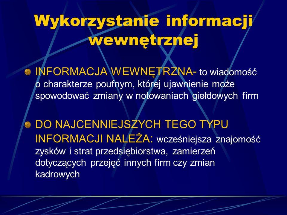 Wykorzystanie informacji wewnętrznej