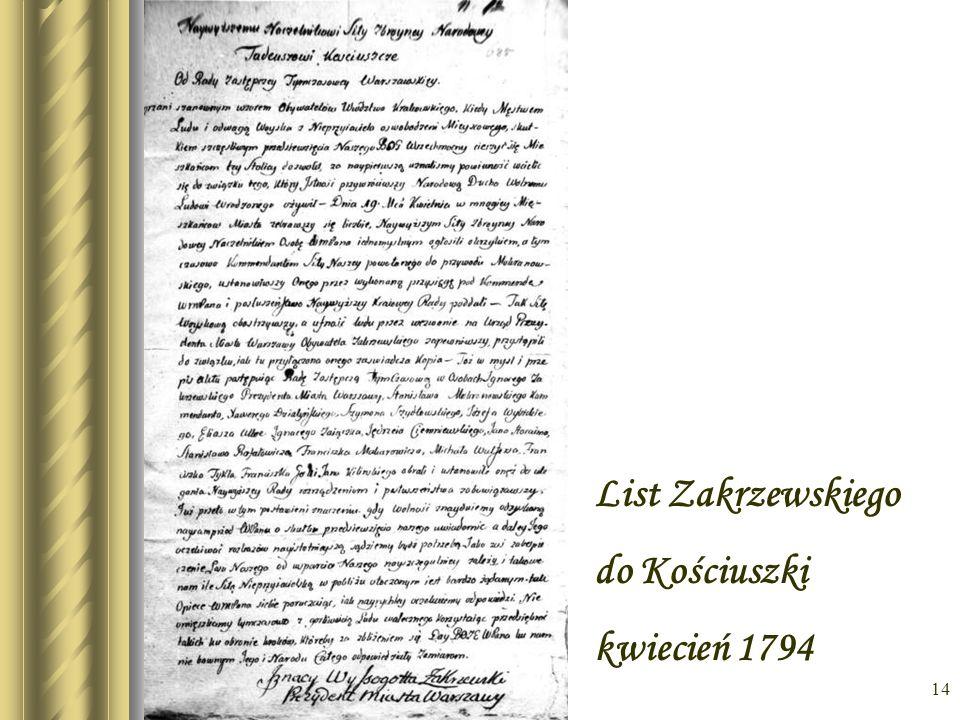 List Zakrzewskiego do Kościuszki kwiecień 1794