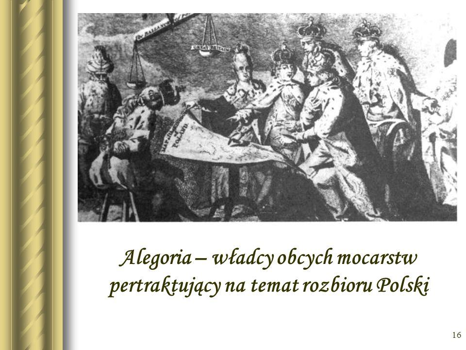Alegoria – władcy obcych mocarstw pertraktujący na temat rozbioru Polski