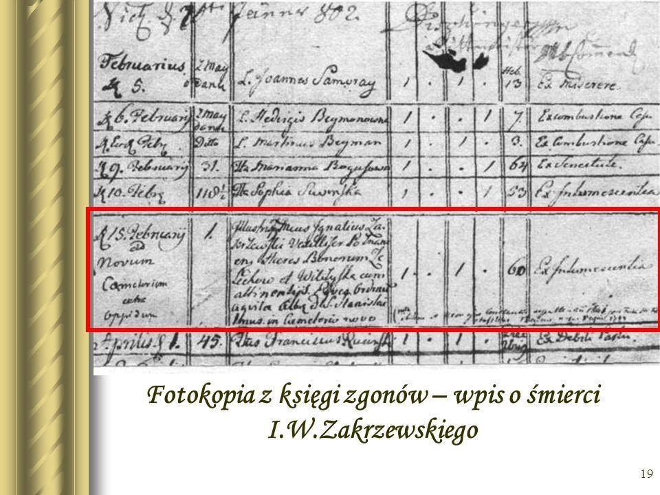 Fotokopia z księgi zgonów – wpis o śmierci I.W.Zakrzewskiego