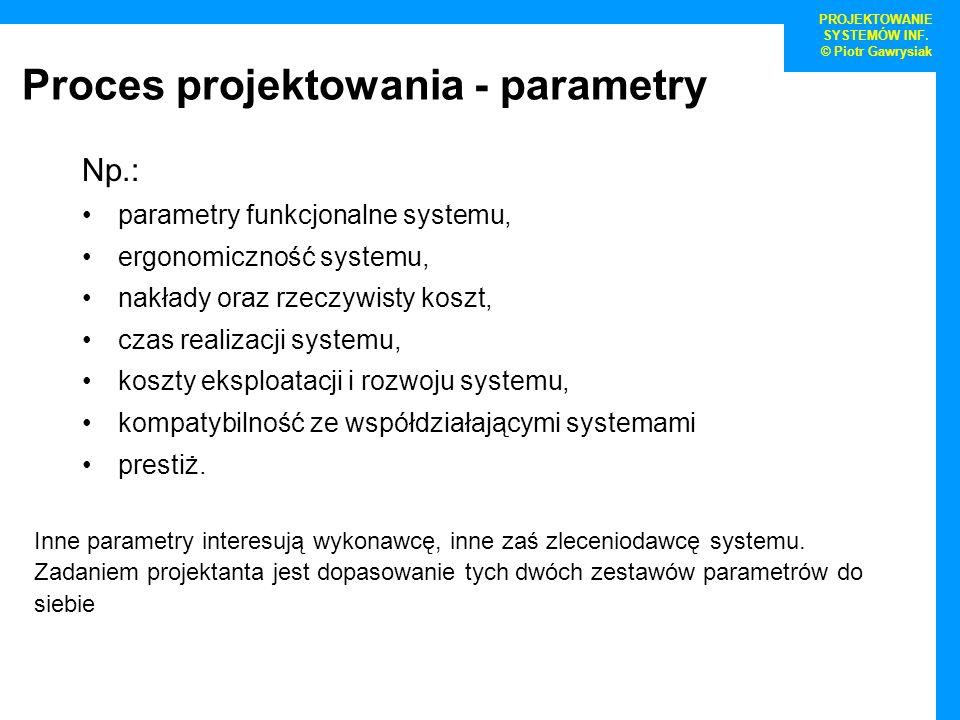 Proces projektowania - parametry