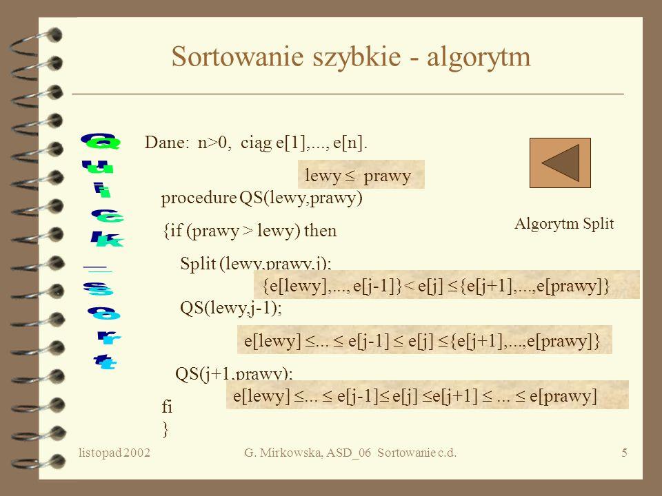 Sortowanie szybkie - algorytm