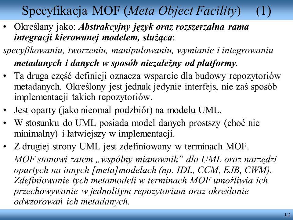 Specyfikacja MOF (Meta Object Facility) (1)