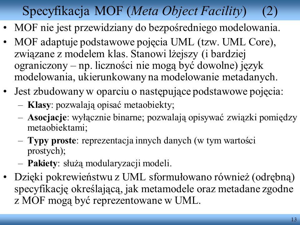 Specyfikacja MOF (Meta Object Facility) (2)