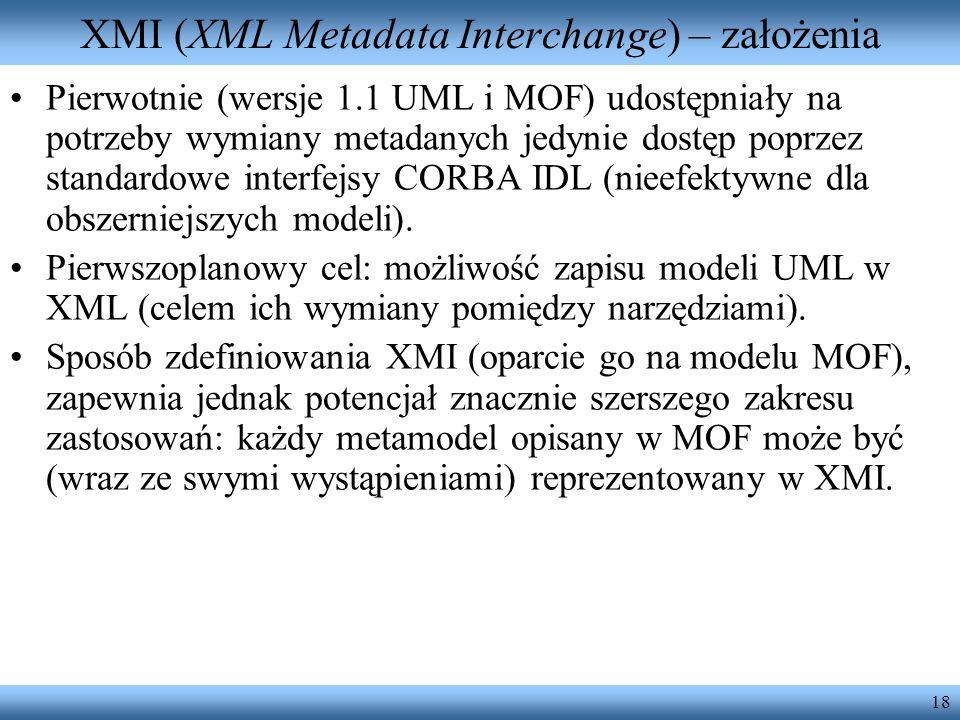 XMI (XML Metadata Interchange) – założenia