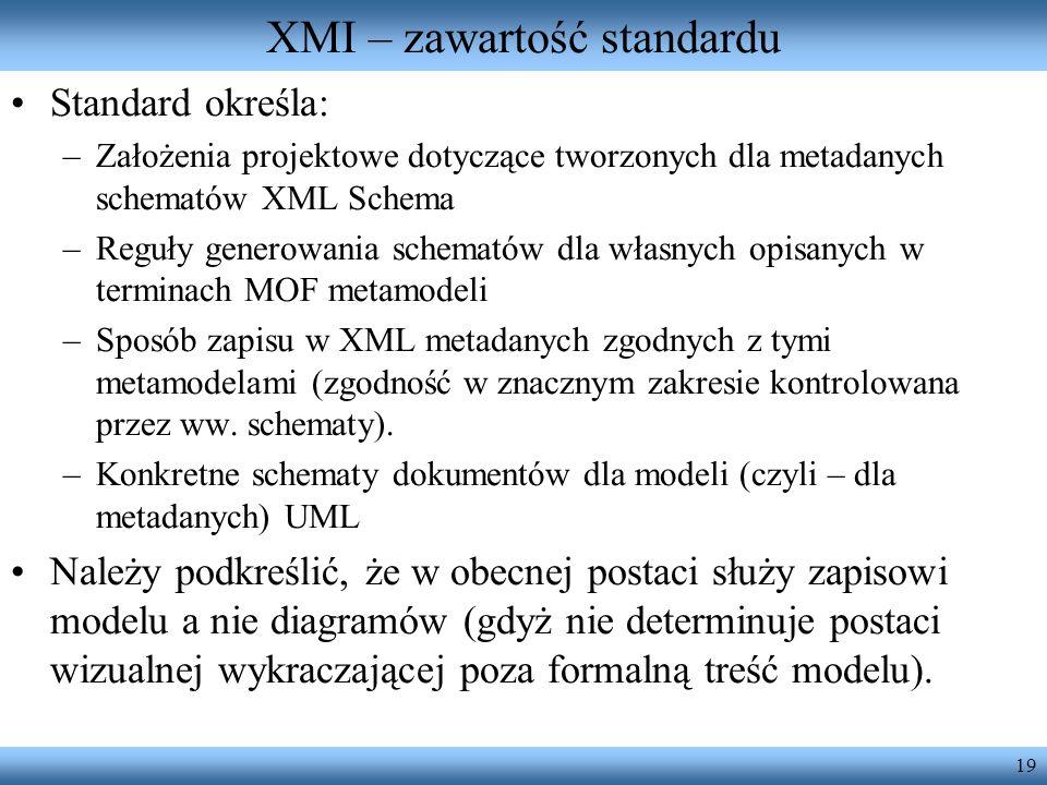 XMI – zawartość standardu