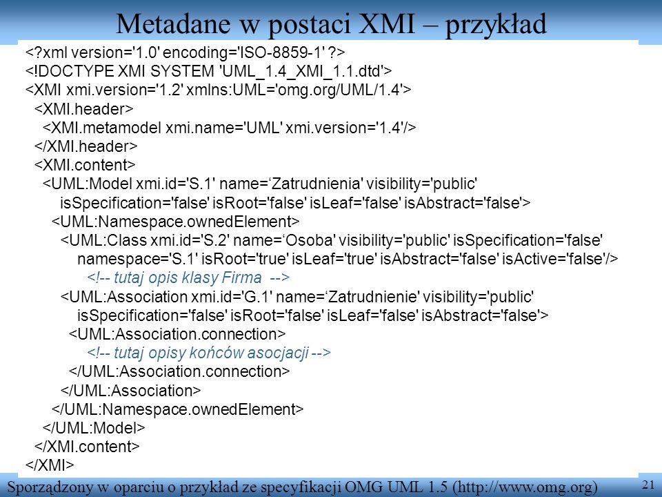 Metadane w postaci XMI – przykład
