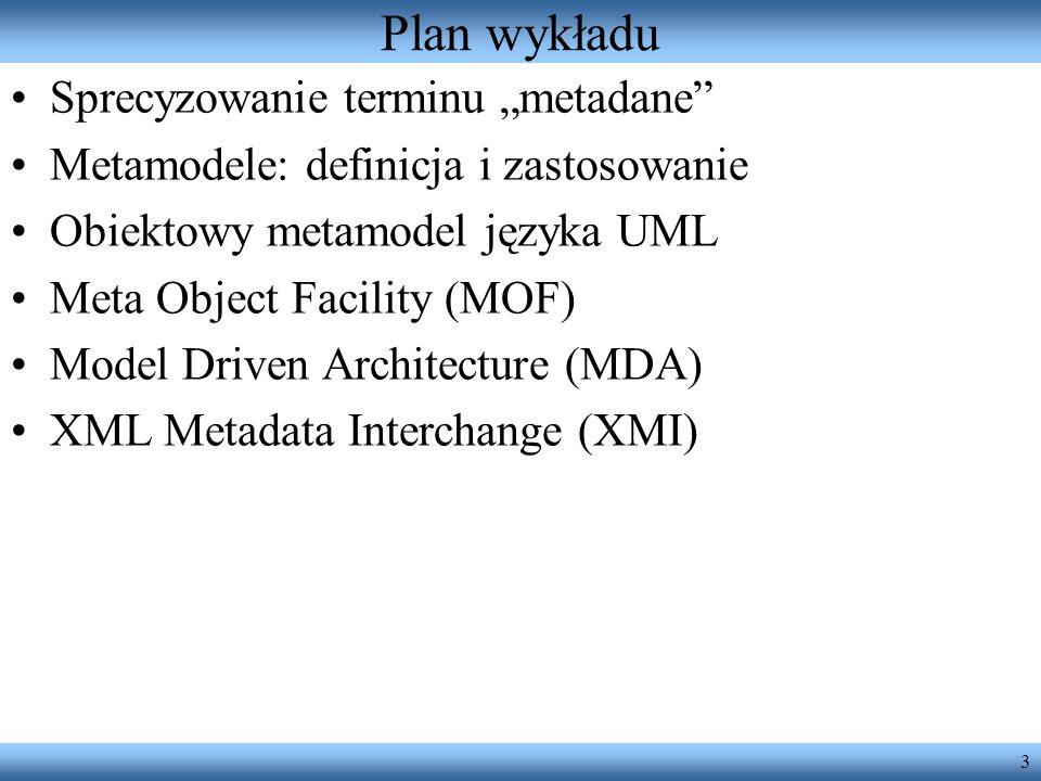 """Plan wykładu Sprecyzowanie terminu """"metadane"""