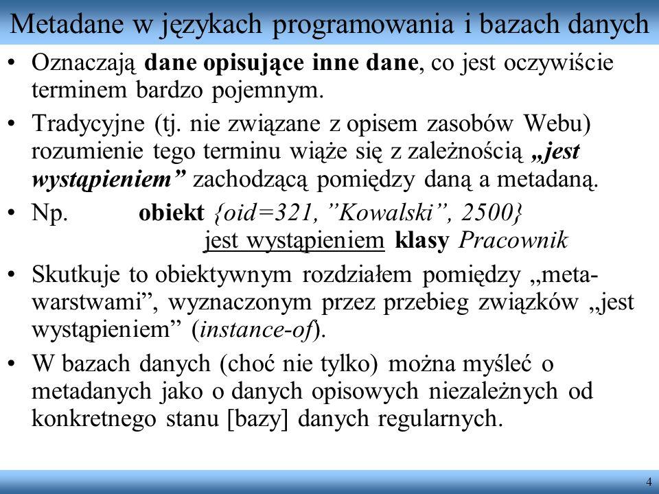 Metadane w językach programowania i bazach danych