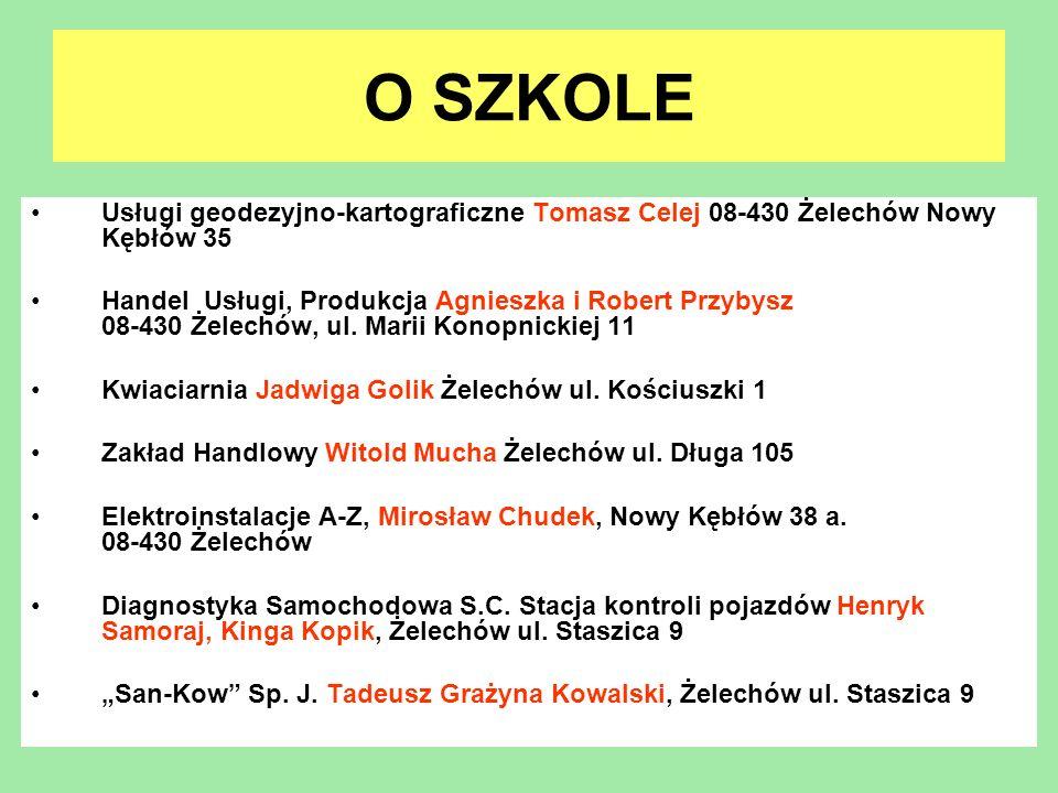 O SZKOLE Usługi geodezyjno-kartograficzne Tomasz Celej 08-430 Żelechów Nowy Kębłów 35.