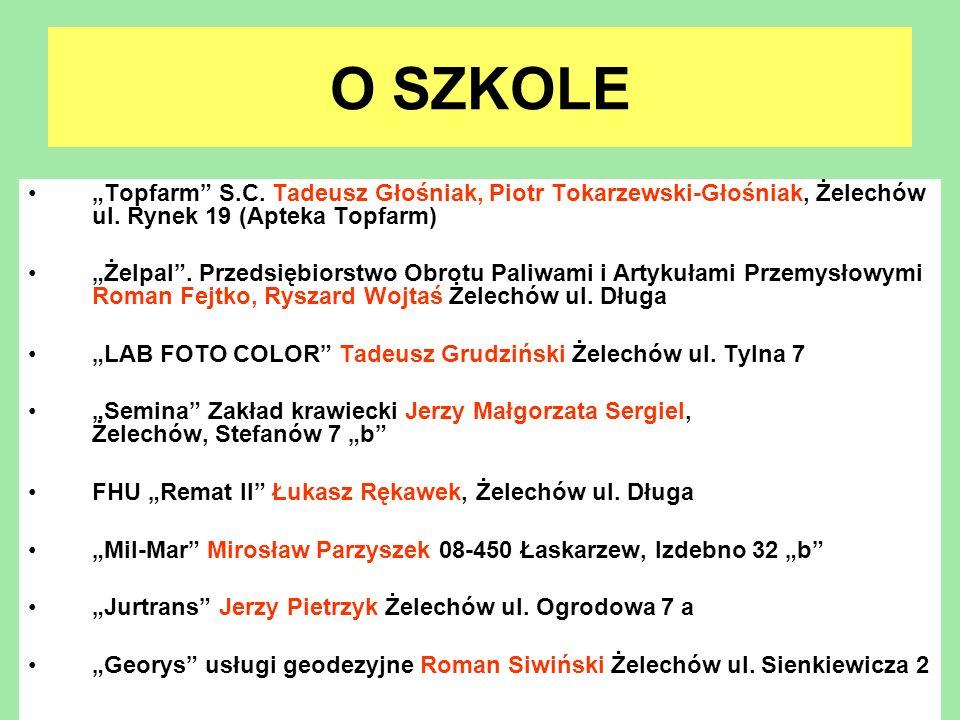 """O SZKOLE""""Topfarm S.C. Tadeusz Głośniak, Piotr Tokarzewski-Głośniak, Żelechów ul. Rynek 19 (Apteka Topfarm)"""