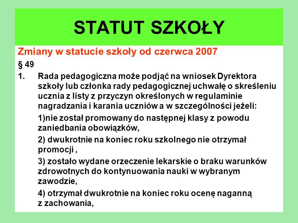 STATUT SZKOŁY Zmiany w statucie szkoły od czerwca 2007 § 49