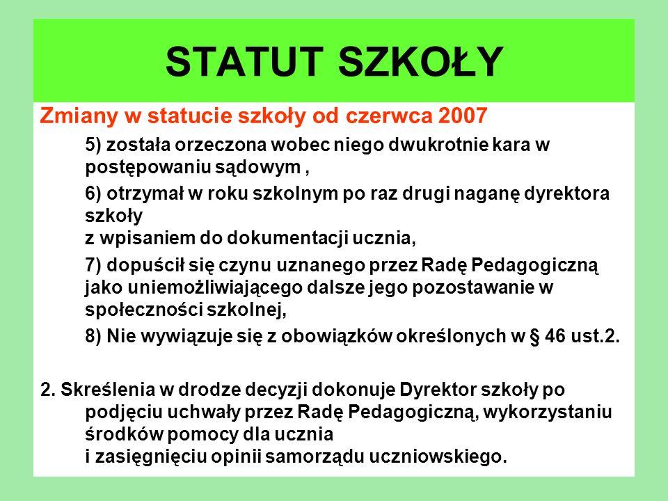 STATUT SZKOŁY Zmiany w statucie szkoły od czerwca 2007