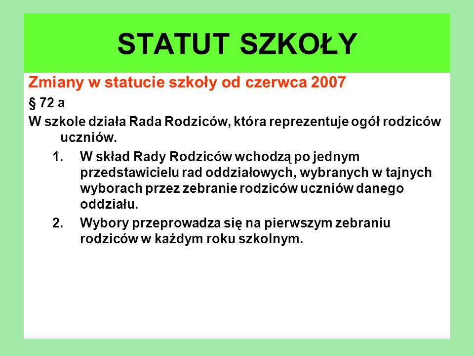 STATUT SZKOŁY Zmiany w statucie szkoły od czerwca 2007 § 72 a