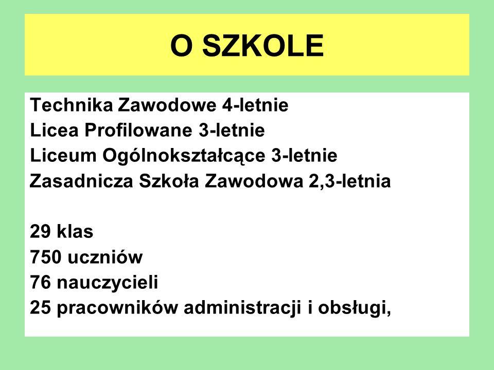 O SZKOLE Technika Zawodowe 4-letnie Licea Profilowane 3-letnie