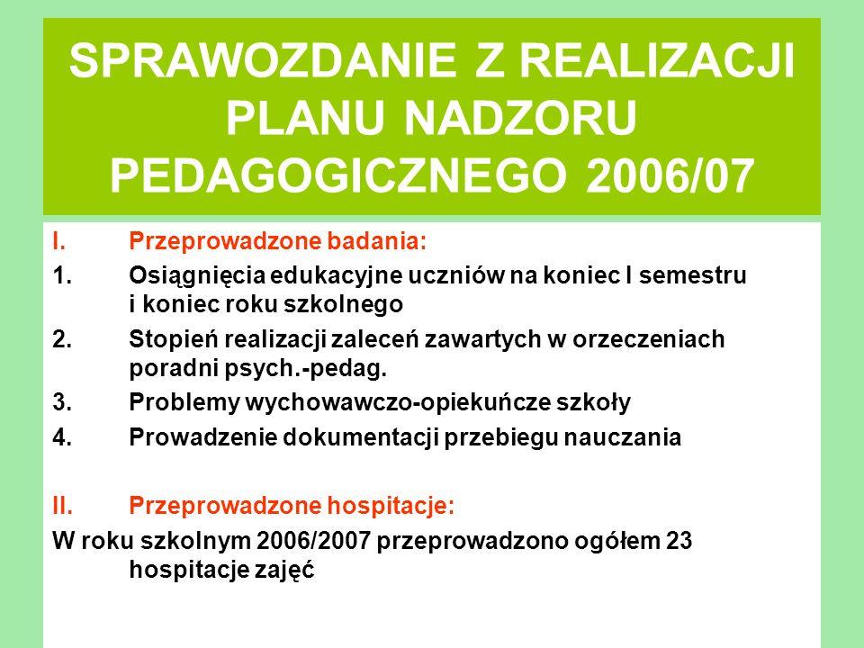 SPRAWOZDANIE Z REALIZACJI PLANU NADZORU PEDAGOGICZNEGO 2006/07