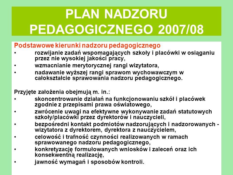 PLAN NADZORU PEDAGOGICZNEGO 2007/08