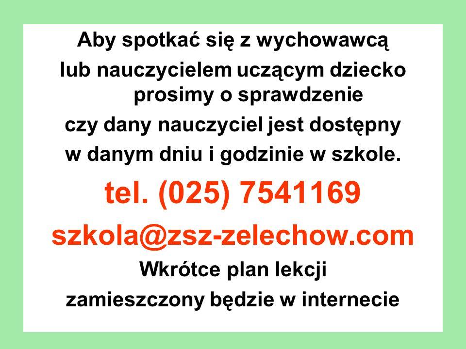 tel. (025) 7541169 szkola@zsz-zelechow.com
