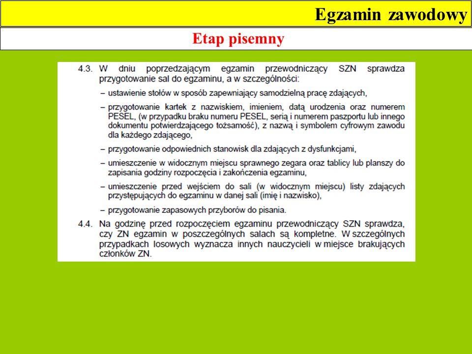 Egzamin zawodowy Etap pisemny 2