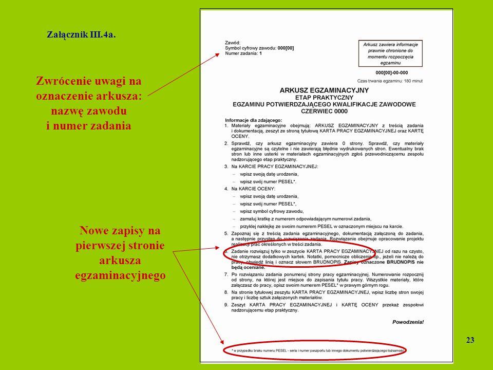 Zwrócenie uwagi na oznaczenie arkusza: nazwę zawodu i numer zadania