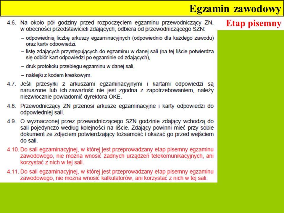 Egzamin zawodowy Etap pisemny 3