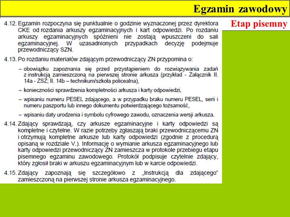 Egzamin zawodowy Etap pisemny 4