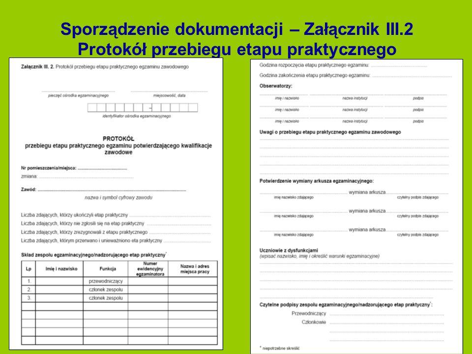 Sporządzenie dokumentacji – Załącznik III